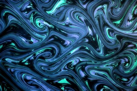 sinuous: Ornamental blue swirling marbled paper with a flowing sinuous design on a dark background in a full frame background pattern