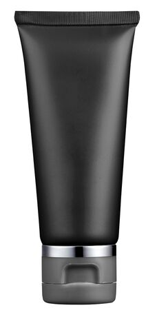 unlabelled: Empty plain black plastic cosmetics tube standing upright isolated on white for a packaging concept Stock Photo