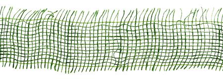 Extreme close up de gaze verte ou de tissu de camouflage avec des détails de tissu tissé sur blanc