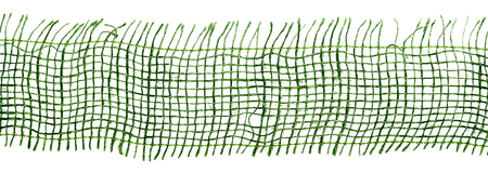 weft: Extreme close up of green gauze or camouflage fabric with details of weaved fabric over white