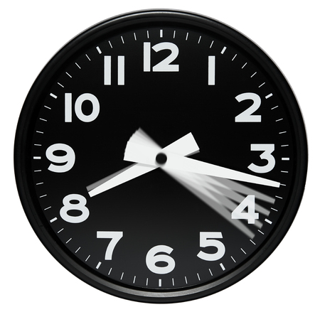minute hand: Clock dial showing passing minutes as motion blur positions of the minute hand in one minute increments Stock Photo