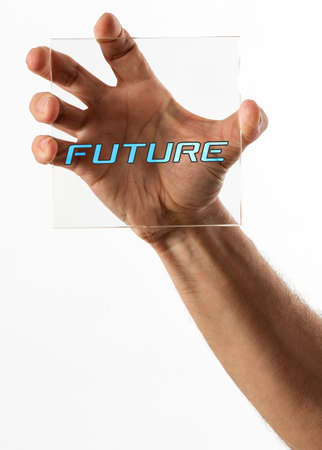Single human hand gripping a square piece of glass with future text in the middle on isolated background