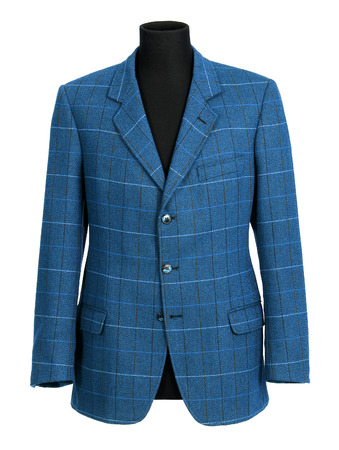 tailored: Stylish tailored blue jacket for a man with a checked pattern displayed on a half mannequin isolated on white Stock Photo