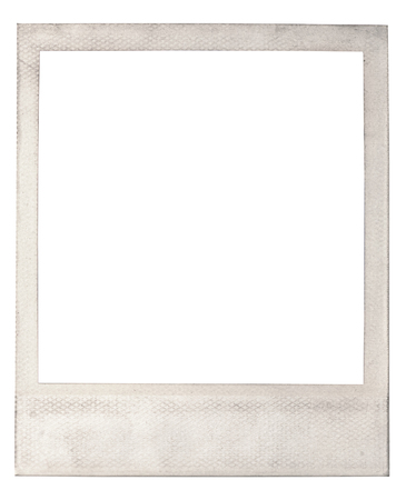 discolored: Old blank instant photo frame with a light colored dirty discolored frame isolate on white with copy space for your picture or photo