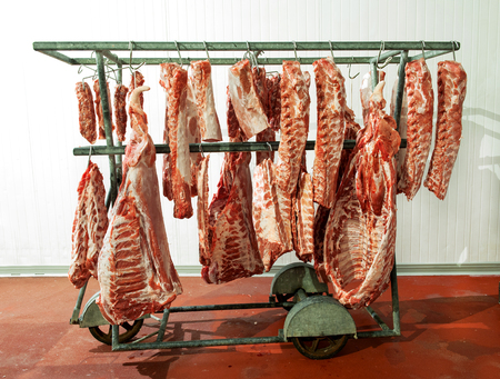 carcass meat: Multiple pieces of large, newly butchered raw meat loins on sharp hooks carried by wheeled hanger cart in refrigerated room