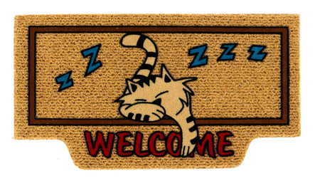 Isolated single welcome mat with cartoon of sleeping white and black cat over white background