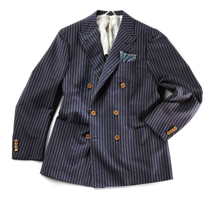 pinstripes: Single striped jacket with pinstripes over isolated white background