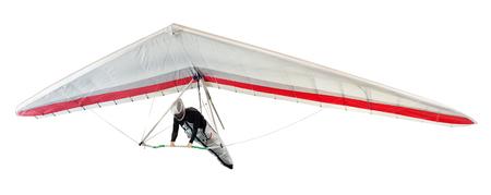 열 상승 기류 급증 행글라이더는 흰색, 날개 아래 하네스에 일시 중단