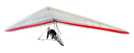 Hängegleiter die thermischen Aufwinde aufgehängt an einem Gurtzeug unter dem Flügel, isoliert auf weiß steigenden