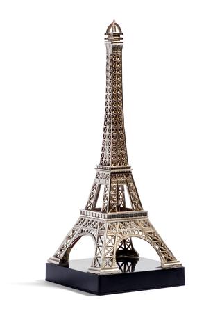 mementos: Miniature metallic silver model of the Eiffel Tower, Paris, France for sale as tourist souvenirs or mementos in a travel and tourism concept