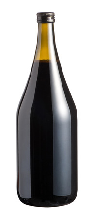 unlabelled: Full sealed unlabelled large bottle of red wine in a screw top magnum isolated over white