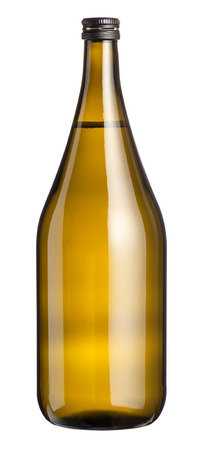 magnum: Large unlabelled full magnum bottle of white wine with a sealed screw top isolated on white