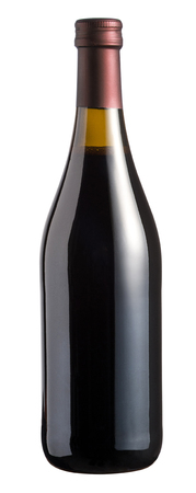 corked: Sealed full corked unlabelled bottle of red wine isolated on a white background in a viticulture concept