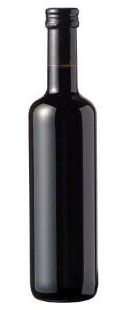 unlabelled: Isolated small unlabelled sealed bottle of red wine on a white background for advertising, branding or viticulture concepts Stock Photo
