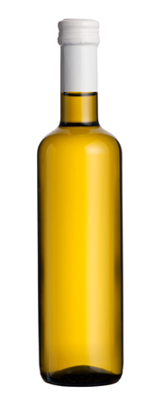 unlabelled: Single sealed unopened unlabelled bottle of white wine isolated over white for branding and advertising concepts