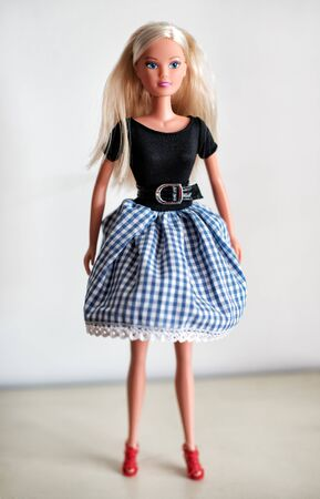checkered skirt: Single blond toy doll in knee length checkered blue and white skirt, black blouse and red shoes