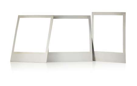 Set Of Three Polaroid Frames With Blank Squares Standing Isolated ...