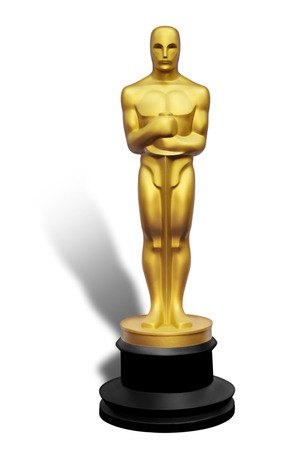 Illustration of golden Oscar statue against white background