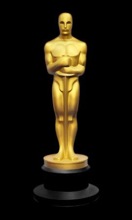 Illustration of golden Oscar statue against black background Editorial