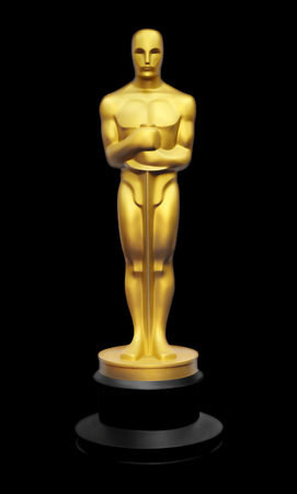 Illustration of golden Oscar statue against black background Editorial