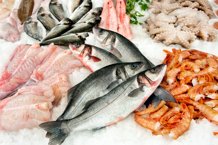 Various types of fresh fish lying in ice on market display