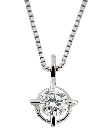 Circular solitaire diamond pendant with a large faceted gemstone in silver or platinum hanging on a box chain isolated on white Stockfoto