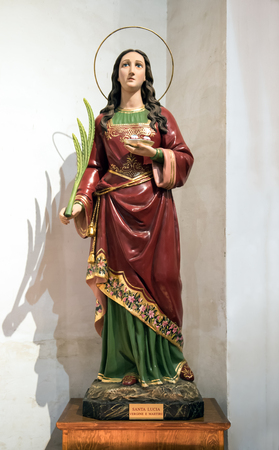 Statue of Saint Lucy or Saint Lucia of Syracuse who was persecuted and martyred and whose relics are now to be found in Venice, Italy in the Church of San Geremia, a pilgrimage destination