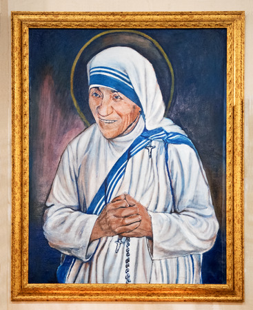 Portrait of Madre Teresa di Calcutta, Mother Teresa or Saint Teresa of Calcutta the Roman Catholic founder of charities based on chastity, obedience and poverty