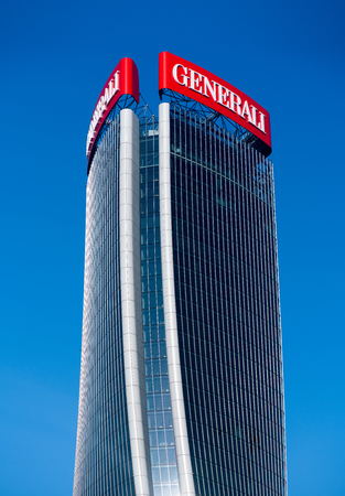 External facade of the Generali Tower in Milan Italy with its modern warped design by Zaha Hadid against a blue sky 報道画像