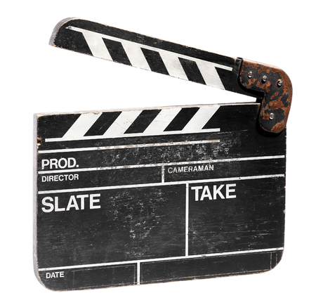 Vintage blank movie clap board for cinematography or video with the clapper raised to record the start and finish of a motion sequence for sound synchronisation