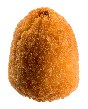 Arancini di Sicilia or breaded fried Sicilian rice balls stuffed with a savory filling such as seasoned mince meat, cheese or ham isolated on white for regional Italian cuisine