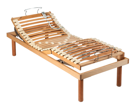 Single wooden orthopaedic bed with net and shock absorbers and electric adjustment mechanism isolated on white Reklamní fotografie