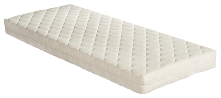 White quilted single orthopaedic mattress isolated on white in a healthcare and healthy lifestyle concept