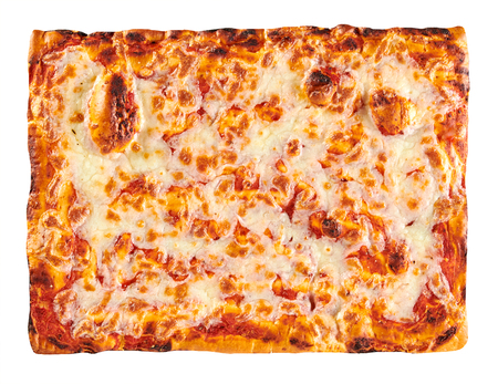 Classic bakery cooked rectangular Margherita Pizza topped with melted mozzarella cheese and tomato on a crispy base viewed top down isolated on white Фото со стока