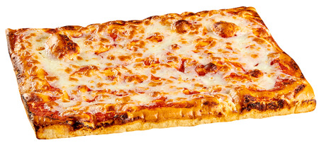 Classic rectangular bakery Margherita pizza topped with tomato and melted mozzarella cheese isolated on white 스톡 콘텐츠
