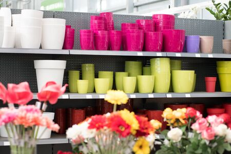 Assorted shapes and colors of flowerpots displayed on shelves in a nursery viewed over the top of bunches of colorful flowers