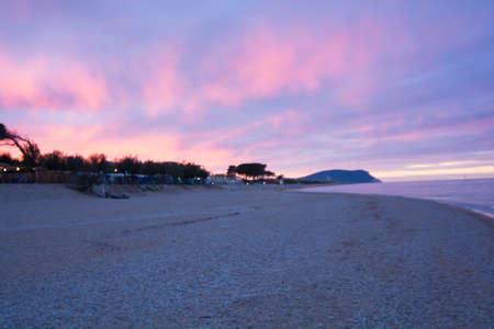 Adriatic coast sunset with monte conero background Archivio Fotografico