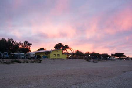 sunset on the Adriatic coast beach