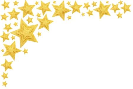 gold decorations: Frontera de estrellas de oro aislado en blanco