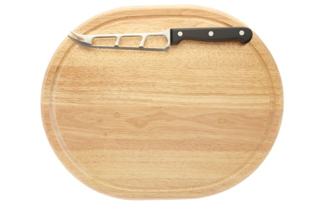 Chopping board and knife isolated on white photo