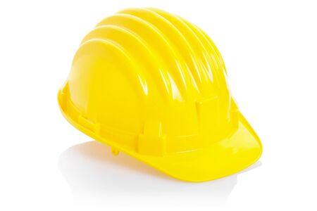 Yellow helmet isolated on white photo