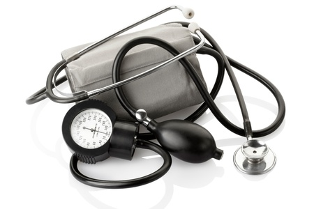 Medical sphygmomanometer and stethoscope isolated photo