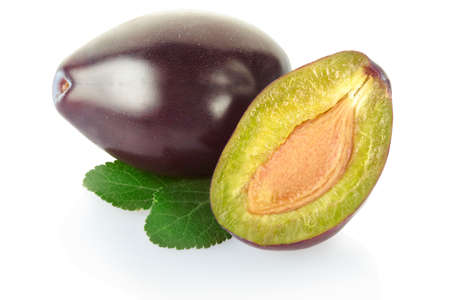 Plum isolated on white, clipping path included photo
