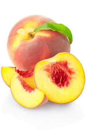 Peach isolated on white. photo