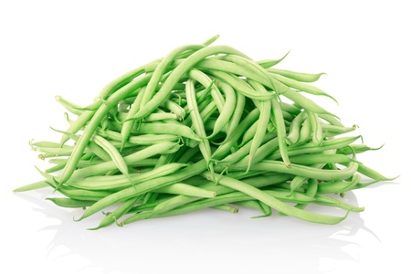 french bean: Green beans isolated on white.