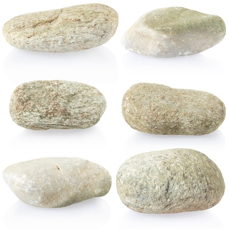boulder: Stone, rock collection on white Stock Photo