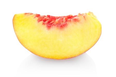 cut fruit: Peach slice on white Stock Photo
