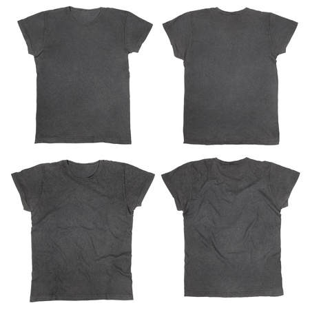 tee: Blank black t-shirts front and back Stock Photo