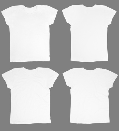 Blank white t-shirts front and back photo