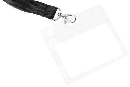security company: Blank badge or ID pass isolated on white background, clipping path included Stock Photo